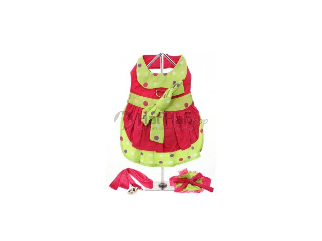 Obleček pro fenky – šaty Hot Pink Polka s postrojem 2v1