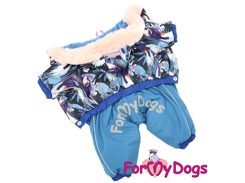 Zimní obleček pro psy overal BLUE FLOWERS