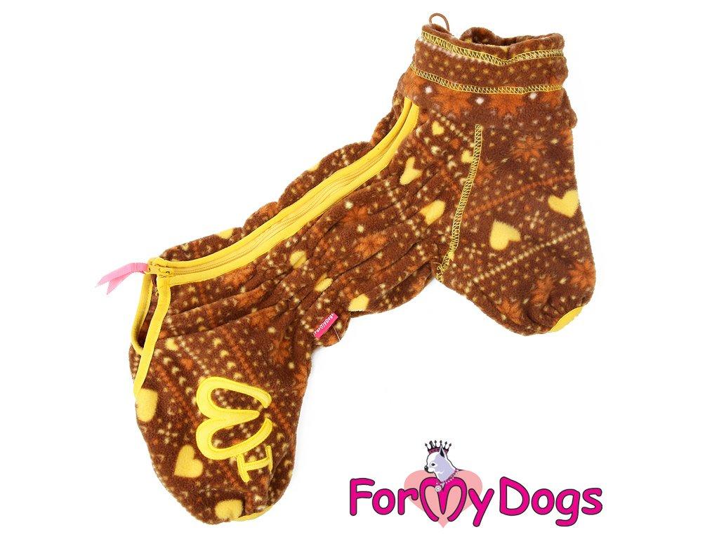 Flísový obleček pro psy overal BROWN FLEECE