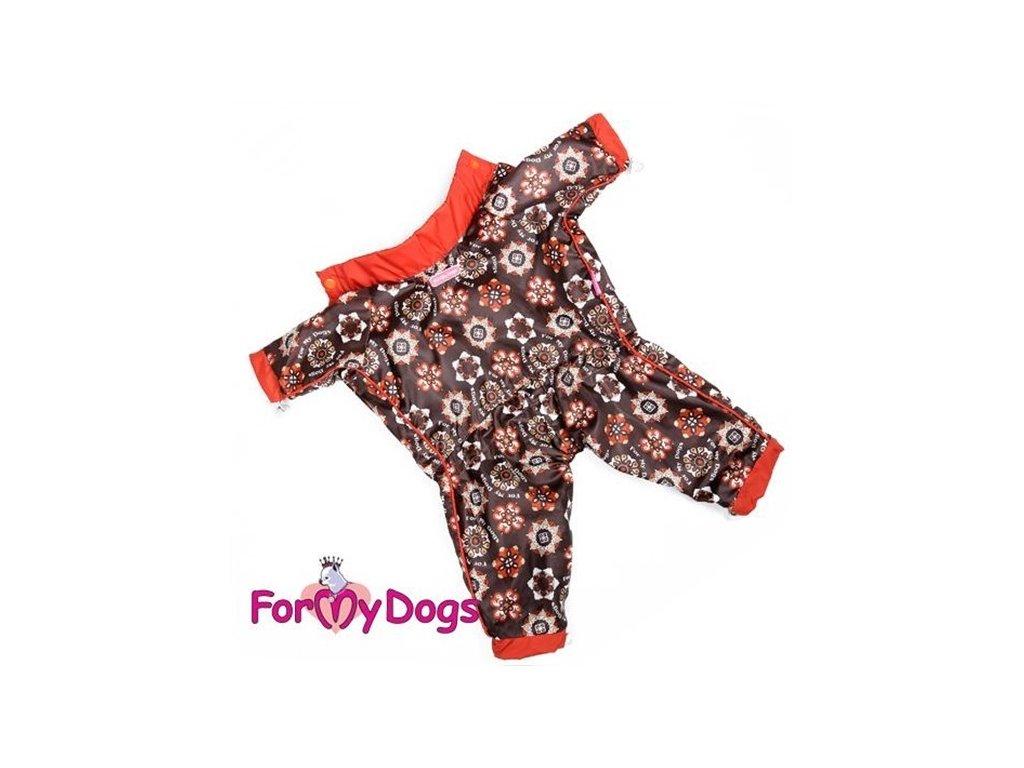 Overal, pláštěnka pro fenky For My Dogs, hnědá s potiskem