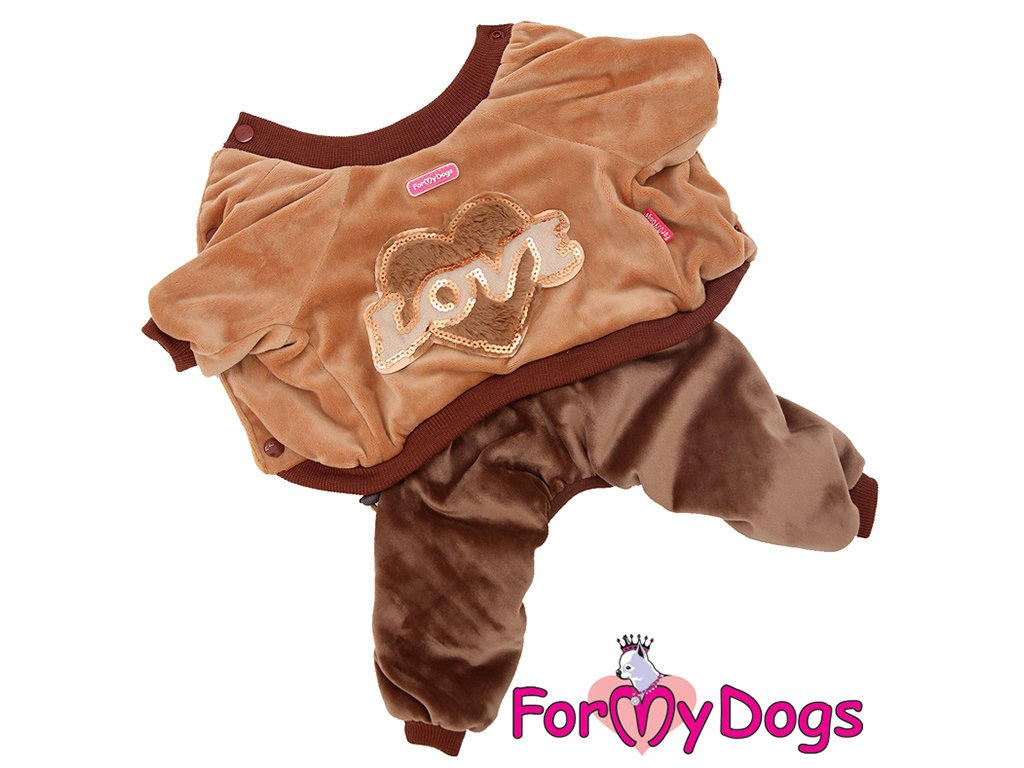 Obleček pro psy i fenky overal LOVE BROWN