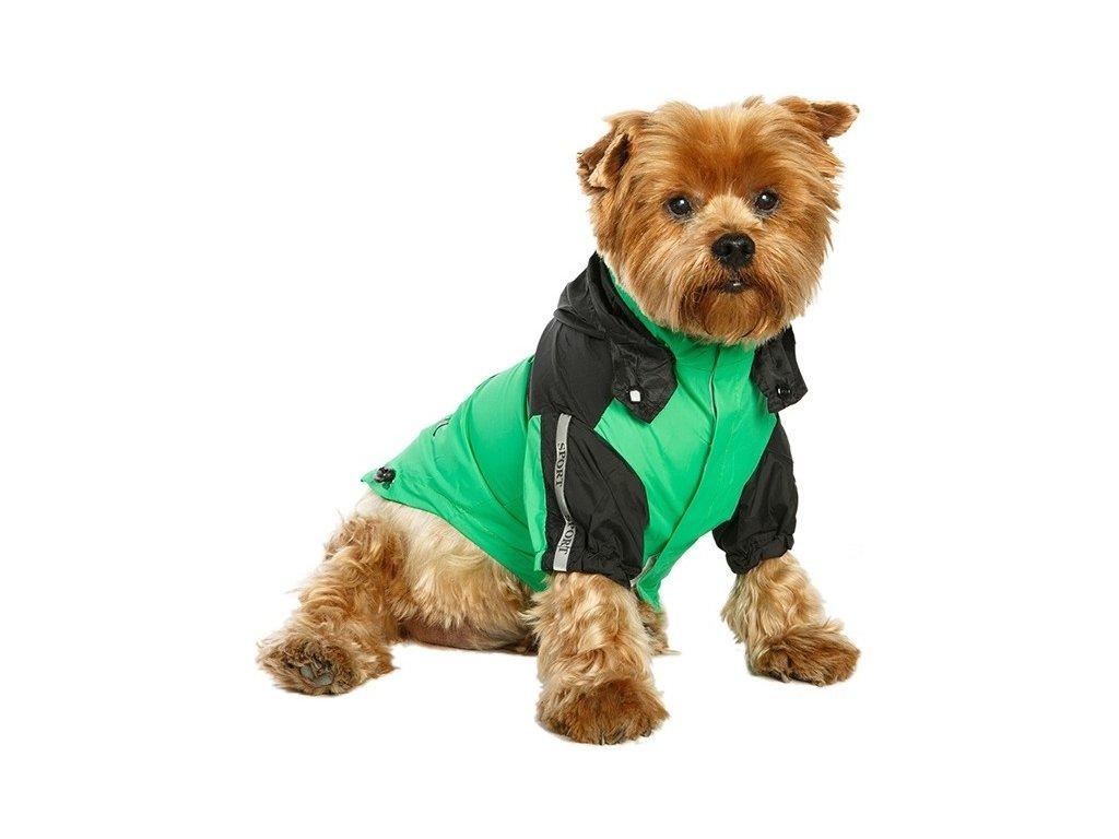 Nepromokavá bunda pro psy a fenky, zelená s černou