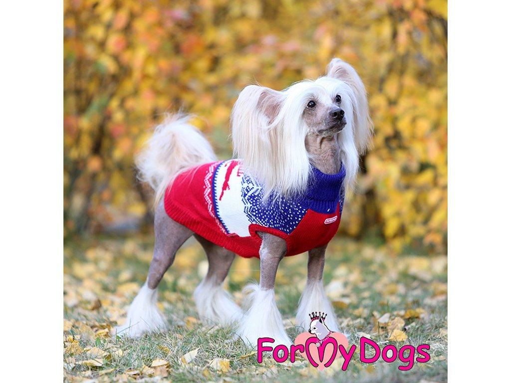 Obleček pro psy i fenky svetr REINDEER RED/BLUE