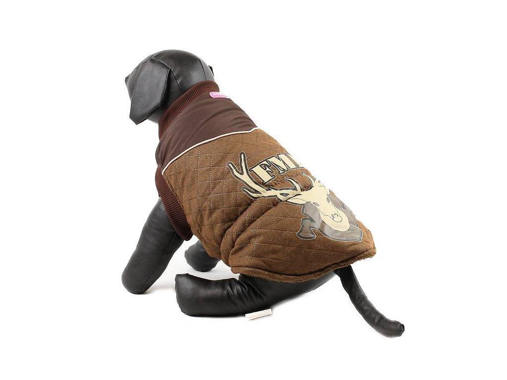 Zimní nepromokavá bunda pro psy a fenky FOR MY DOGS, hnědá