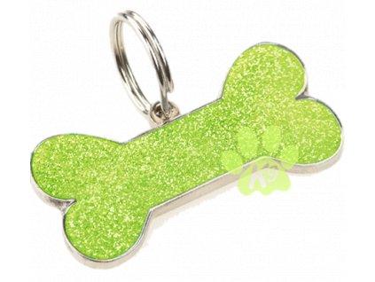 Známka pro psy K9 GLITTER BONE, světle zelená