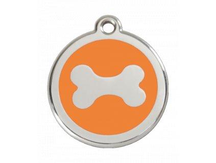 Malá známka pro psy, oranžová, kost