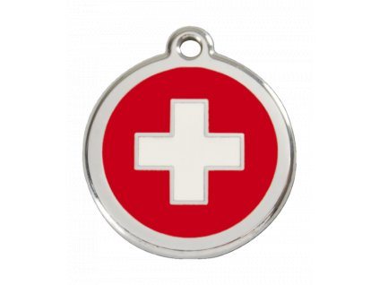 Známka pro psa RED DINGO malá, švýcarský kříž, s rytím