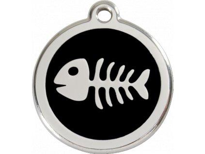 Známka pro psa RED DINGO malá, černá kostra rybky, s rytím