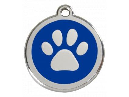 Střední známka pro psy, modrá, tlapka