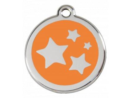 Známka pro psa RED DINGO střední oranžová, hvězdy, s rytím