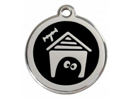Známka pro psa RED DINGO střední, černá bouda, s rytím