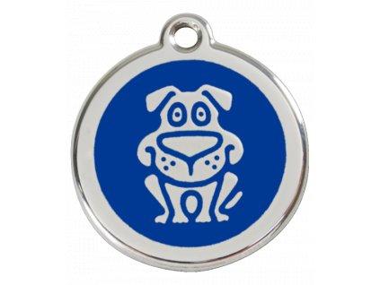 Známka pro psa RED DINGO střední, modrý pes, s rytím