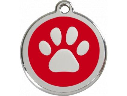 Velká známka pro psy, červená, tlapka