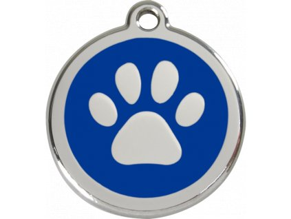 Velká známka pro psy, modrá, tlapka