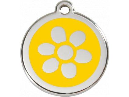 Velká známka pro psy, žlutá, květina