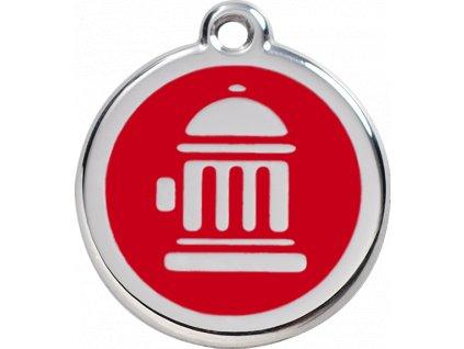 Velká známka pro psy, červená, hydrant