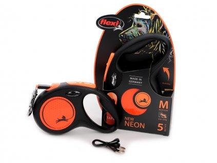 flexi voditko pro psy neon orange