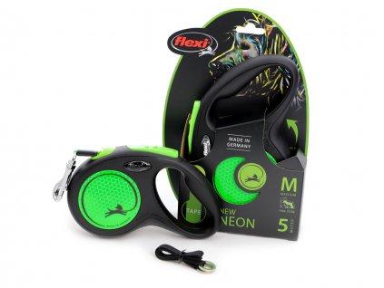 flexi voditko pro psy neon green