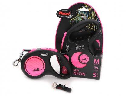 flexi voditko pro psy neon pink