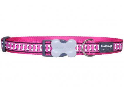 Reflexní obojek pro psa, tmavě růžový