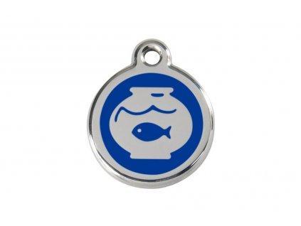 Známka pro psa RED DINGO malá, modré akvárium s rybkou, s rytím