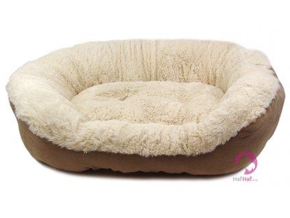 Pelíšek pro psy vykládaný kožešinkou