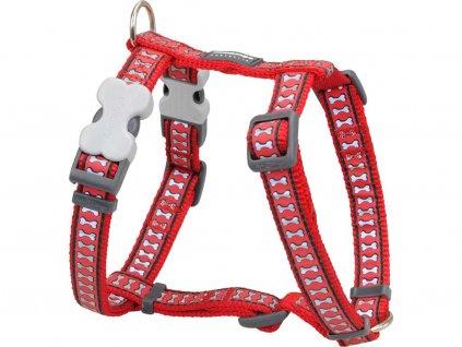 Reflexní postroj pro psa, červený