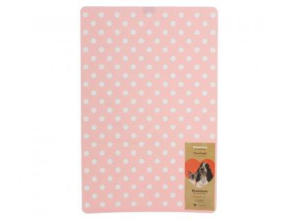 Praktická podložka pod misky s vodou i krmivem. Vzor Pink Polka, barva růžová s bílými puntíky.