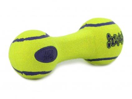 Oblíbená pískací hračka pro psy ve tvaru činky vhodná k přetahování i aportování
