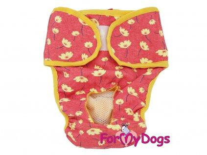 Hárací kalhotky pro fenky FMD PANTIES RED, barva červeno-žlutá