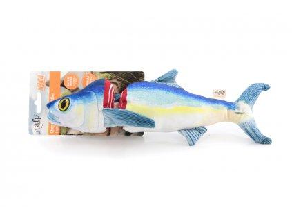 Hračka pro kočky s catnipem – tuňák, barva modro-bílá