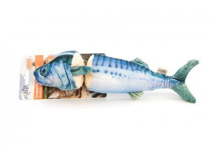 Hračka pro kočky s catnipem – makrela, barva modro-bílá