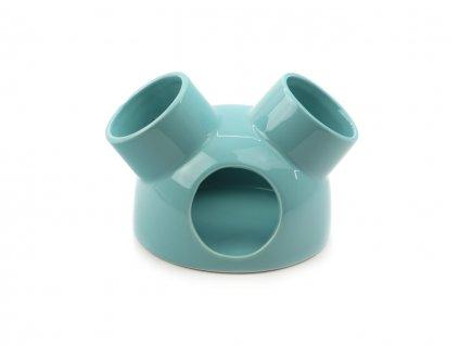 Keramický domeček pro hlodavce – iglů, barva modrá