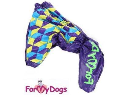 Overal, pláštěnka pro psy For my Dogs, fialová s potiskem