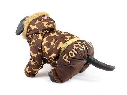 Oblečky pro psy – zimní overal pro psy For My Dogs, hnědý s kapucí