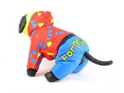 Oblečky pro psy – zimní overal pro fenky For My Dogs, modrá s červenou