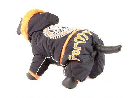 Oblečky pro psy – zimní overal pro psy For My Dogs, černý s oranžovou