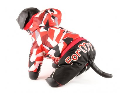Obleček pro psy – zimní nepromokavý overal pro fenky For My Dogs, červenočerný