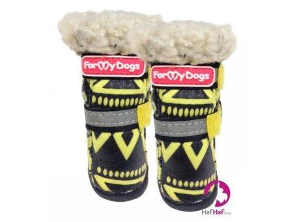 Boty pro psy FMD, žlutočerné