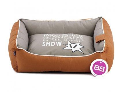 Luxusní hnědošedý pelíšek pro psy BOBBY CORBEILLE IMAGINE s pevným okrajem a vyjímatelnou podložkou. Potah lze sundat a prát v pračce, rozměry 60 × 51 × 17 cm.