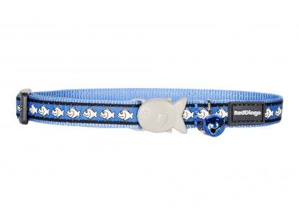 Modrý reflexní obojek pro kočky z kvalitního nylonu s bezpečnostní plastovou sponou Fish Clip.