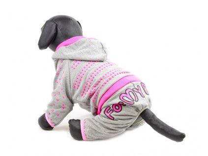 Oblečky pro psy – overal pro psy, šedý, růžové lemy