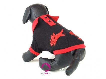 Tričko pro psy FMD, černé s límečkem