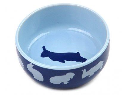 Keramická miska pro králíky, modrá