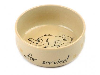 Keramická miska pro kočky, krémová