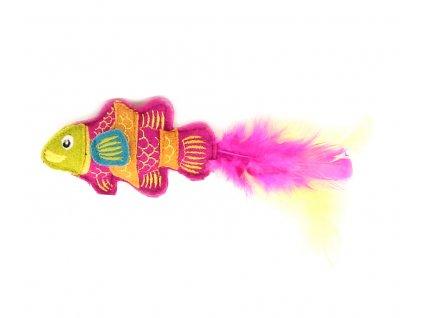 Hračka pro kočky s catnipem ve tvaru tropické rybky s pírky