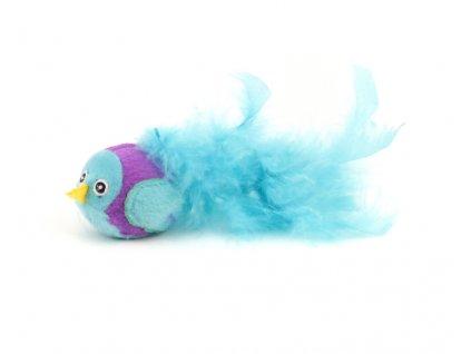Oblíbená hračka pro kočky ve tvaru ptáčka s dlouhými pírky