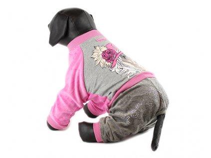 Oblečky pro psy – velurový overal pro psy a fenky For My Dogs, růžový
