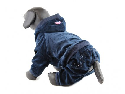 Oblečky pro psy – velurový overal pro psy a fenky For My Dogs, modrý