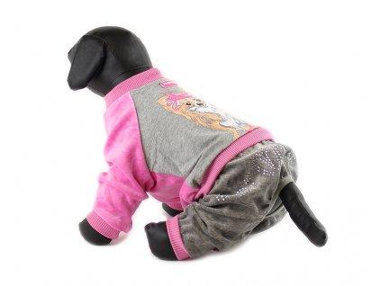 Oblečky pro psy – velurový overal pro psy a fenky For My Dogs, růžovo-šedý